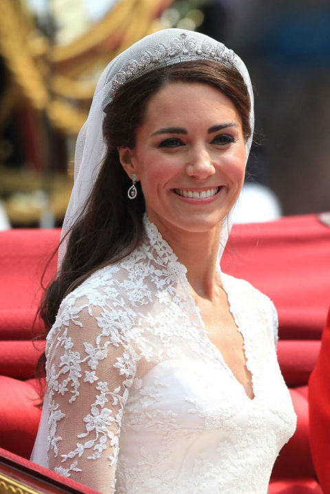 The Duchess of Cambridge opted for an extra-polished version of her typical hairstyle — plus a glittering crown and veil combo — on her wedding day in 2011. Want big, voluminous hair that's perfectly curled at the ends? Try using the GHD Curve Soft Curl Iron ($199, sephora.com) for elegant waves.