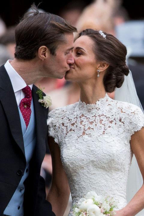 Pippa Middleton wore a lovely twist on the average updo for her 2017 wedding to James Matthews. This style gets all the hair off your shoulders, allowing you to show off a unique neckline. Keep it in place through the ceremony and the reception with Morrocanoil Luminous Hairspray Strong Finish ($24, sephora.com).