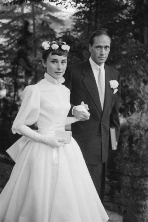 A pixie cut can easily be dressed up for a wedding — it's all about the accessories! Audrey Hepburn's flower crown looks just as modern today as it did in 1954. Getting one of your own is as easy as searching on Etsy.
