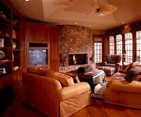 12 family room decorating ideas designs decor for Small den with fireplace