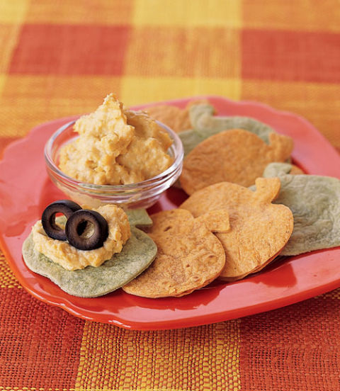 "Eyeball Mash: This quick and easy dip is a tasty appetizer for an adults-only Halloween bash, or for a group of grown-ups in charge of entertaining younger trick-or-treaters.""Pumpkin"" Tortilla Chips: It takes only seconds to cut tortillas into festive pumpkin shapes, sprucing up your Halloween party spread times 10."