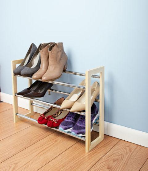 Floor Model. Whitmor Wood U0026 Chrome Shoe Rack ...