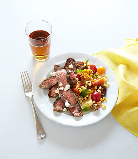 steak with grilled skirt steak with bean corn and tomato grilled flank ...