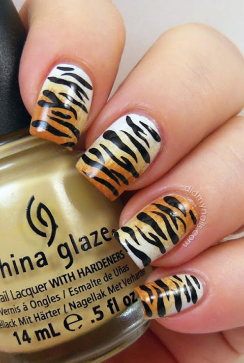 Animal print nail art manicure ideas with leopard and animal print tiger ombr prinsesfo Image collections