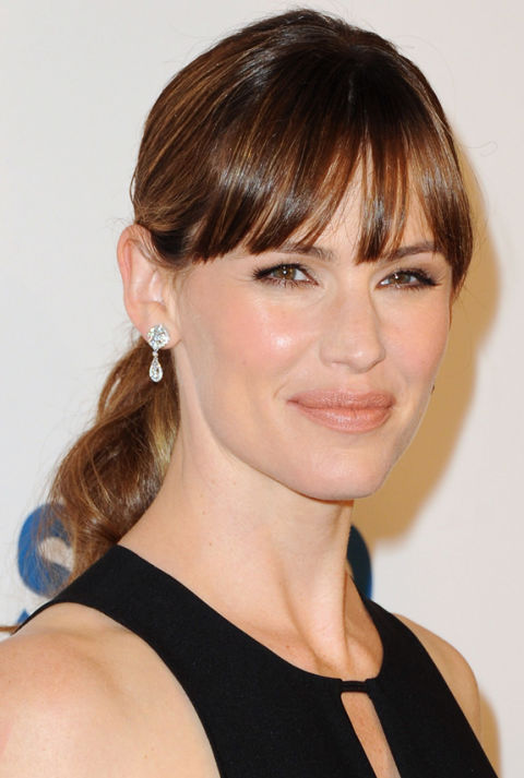 Jennifer garner hair inspiration long hairstyle ideas ponytail with bangs urmus Image collections