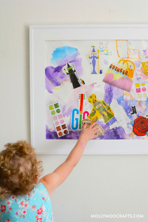 It's amazing how a piece of paper loaded up with watercolor doodles, stickersand pictures from thrifted design books becomes instant art when framed. Get the tutorial at Molly Moo Crafts »