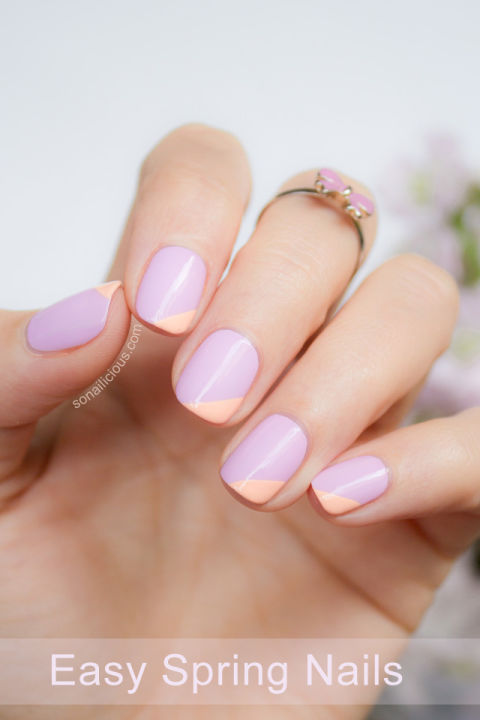 Sub in any color (here, lilac and peach are oh-so-sweet) for a geometric take on plain polish. See more at So Nailicious »