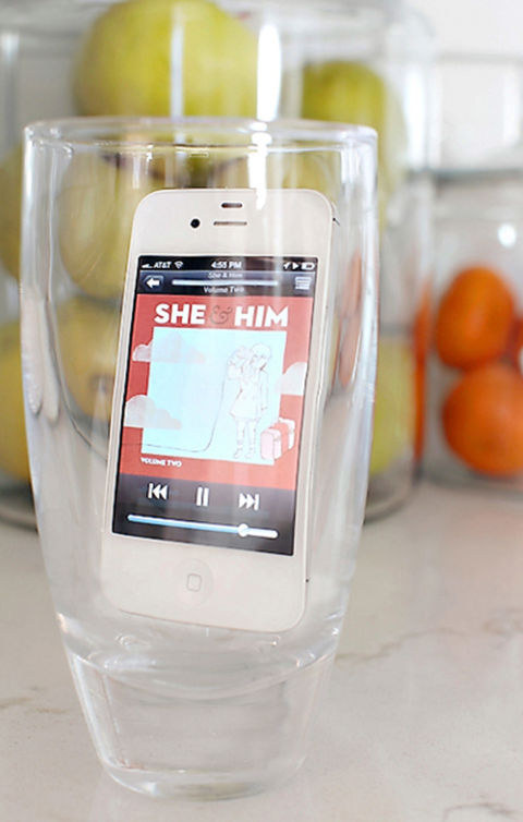 """Rather than plug in a speaker, I use a drink glass to amplify my iPhone's music while I'm cleaning the house or cooking. The shorter the glass, the less the echo effect. It's easy and portable — plus, no cords!"" –Ashley Brown of 7th House on the Left"