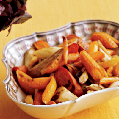Roasted Maple-Bourbon Carrots and Parsnips