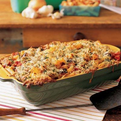 eggplant parmigiana pasta bake