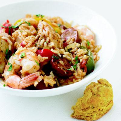 Chicken, Shrimp, and Sausage Jambalaya