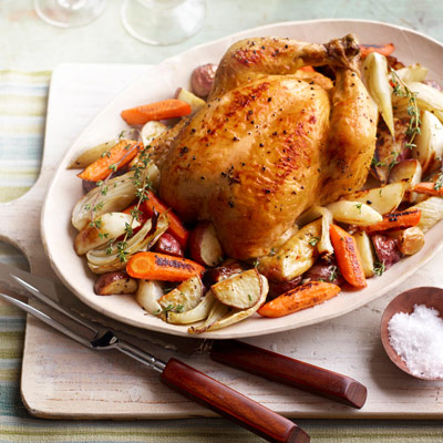 Roasted chicken with winter vegetables recipe for Dinner main course recipes
