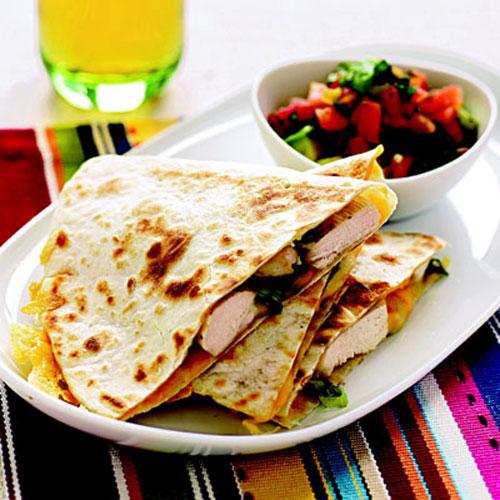 Chicken Quesadillas with Avocado-Tomato Salsa