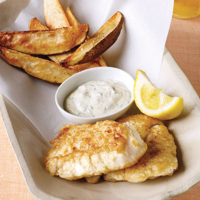 Lightened up fish and chips for Fast food fish