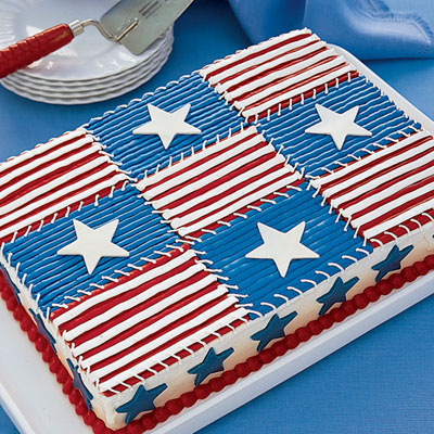 Easy quilt cake recipe american flag cake for American flag cake decoration