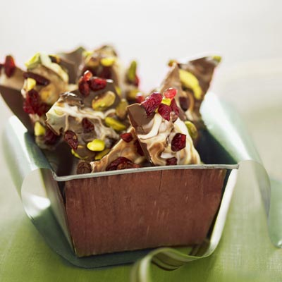 Pistachio and Tart Cherry Chocolate Bark - Holiday Gifts - Recipes