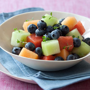 Blueberry-Melon Salad With Thyme Syrup