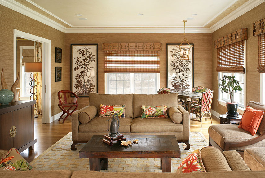 Lovely Brown Living Room With Natural Accent