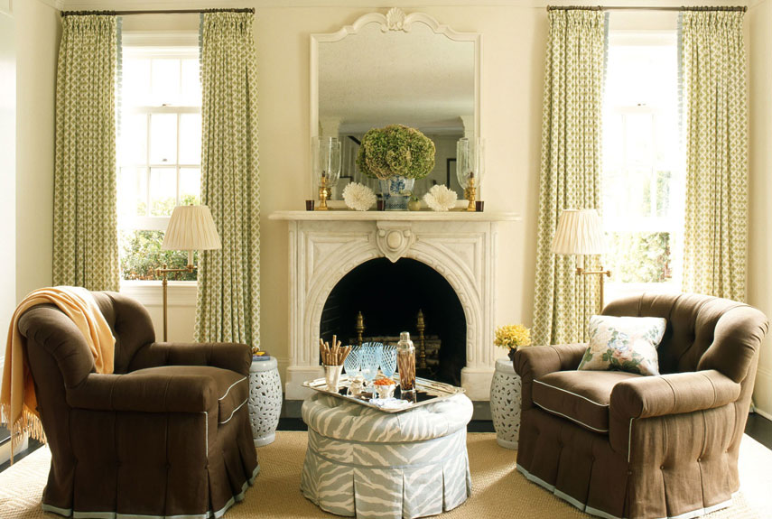 Country Living Room With Brown Armchairs