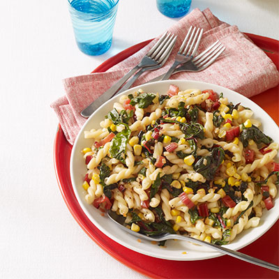 Perfect Pasta With Garlicky Swiss Chard And Corn