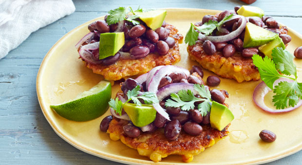 Corn Fritters with Black Bean Salad Recipe