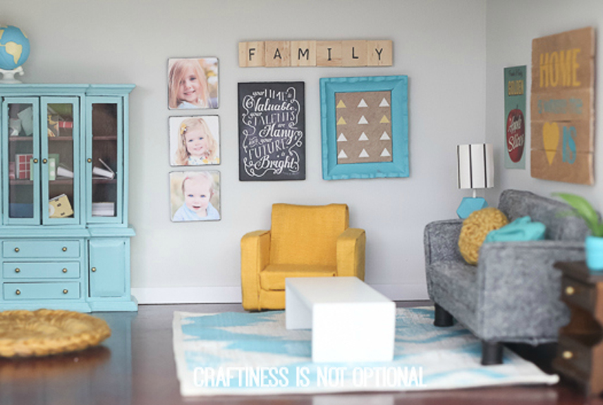 Dollhouse living room images for Dollhouse bedroom ideas