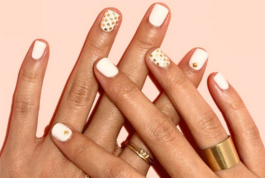White With Gold Dots