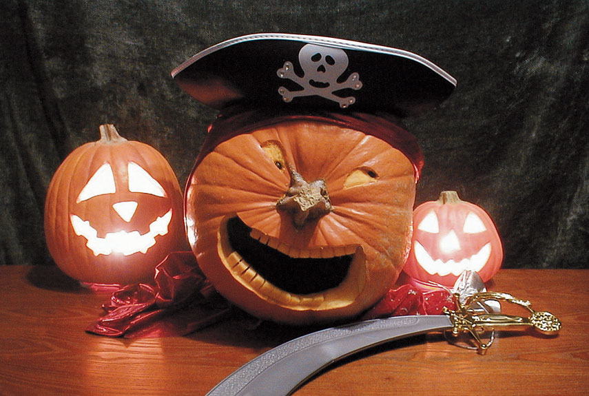 When her 10-year-old son dressed up as a Halloween pirate, Christy Lauman of Irrigon, Oregon, put a matching costume on her jack-o'-lantern.