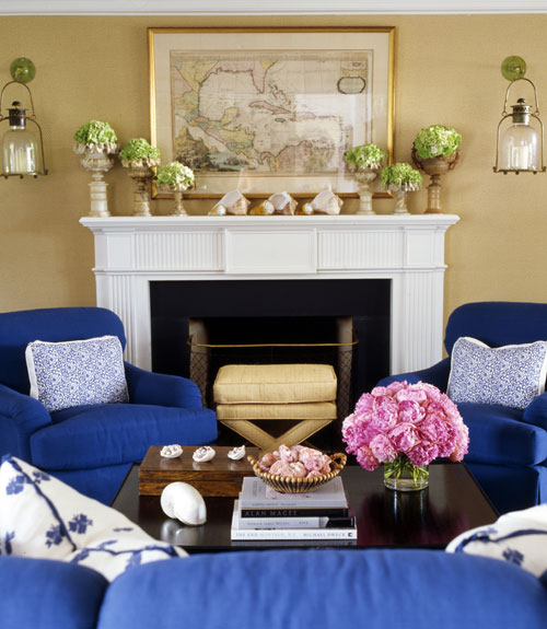 cozy living room with blue armchairs