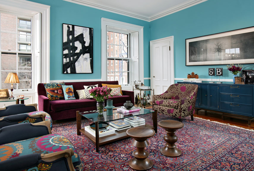 Blue And Purple Room With Area Rug Painted Walls