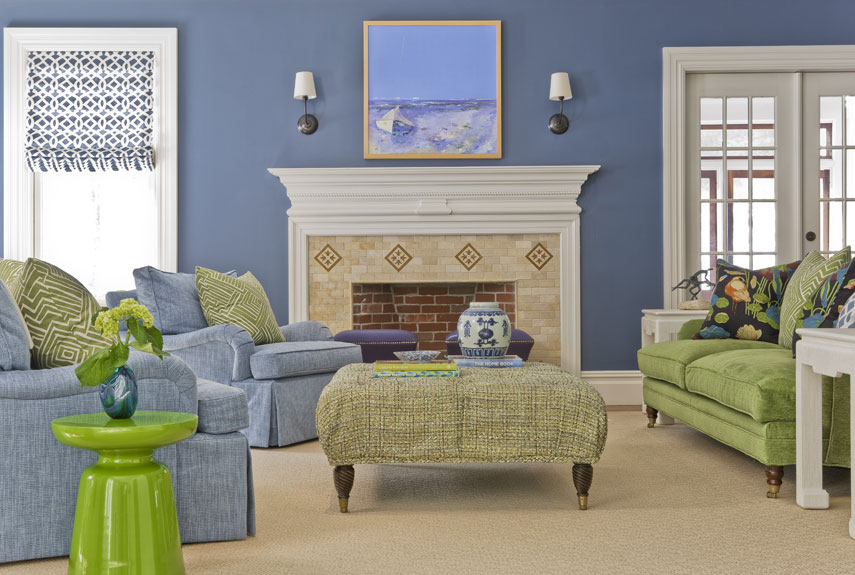 Cozy Blue And Green Family Room With Plush Chairs Part 76