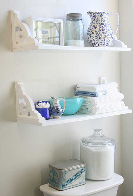 Try inverted brackets 15 Small Bathroom Storage Ideas   Wall Storage Solutions and  . Small Bathroom Shelves. Home Design Ideas