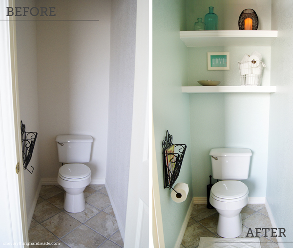 add shelving over a lonely toilet - Diy Small Bathroom Storage
