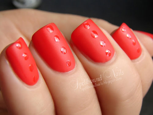 Red manicure ideas nail art inspiration with red matte dots prinsesfo Image collections