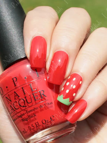 Nail art designs and ideas for summer nail art for memorial day sweet strawberries prinsesfo Choice Image
