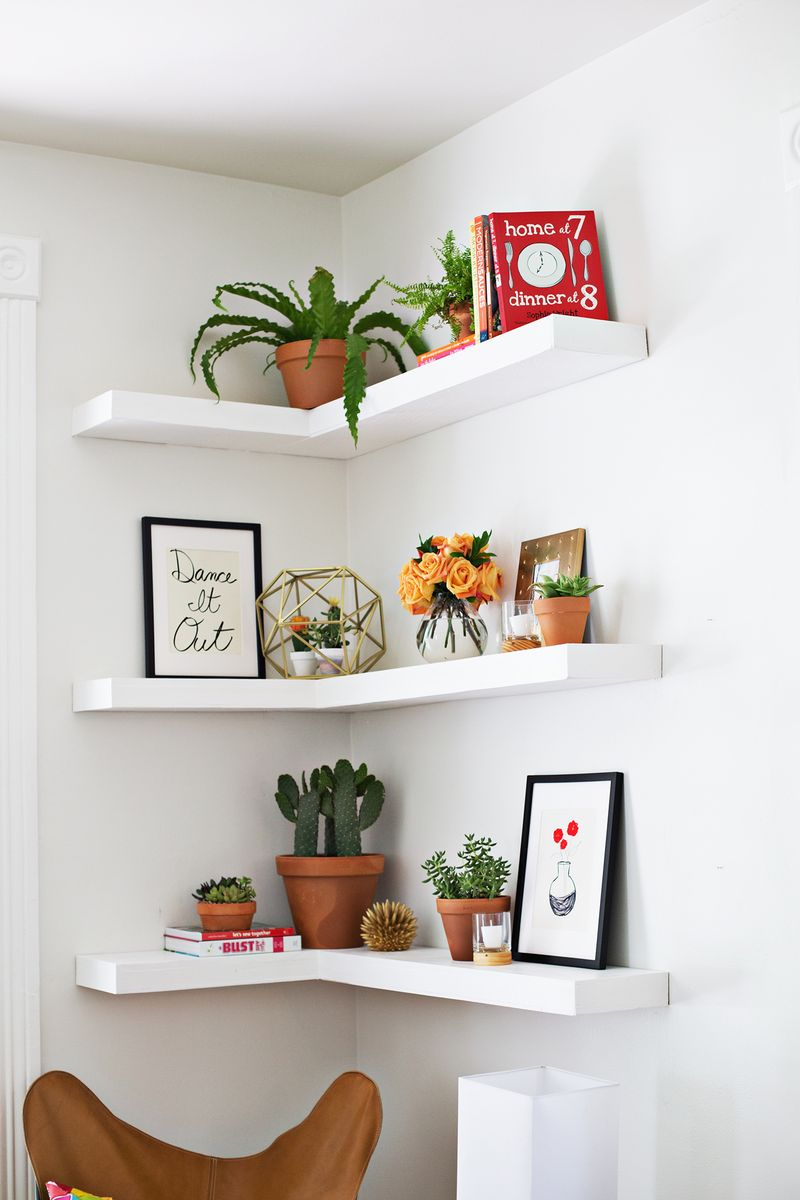 ideas for floating shelves floating shelf styles - Floating Shelves In Living Room