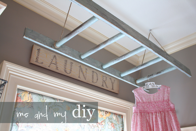 Add a bit of vintage style to a not-so-fun chore by stringing up a ladder on which to dry clothes or hang freshly pressed garments. See more at Me and My DIY »