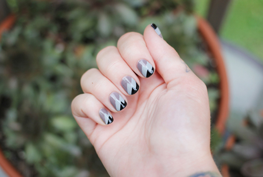 Geometric - Gray Nail Art Ideas - Chic Manicures With Gray Polish