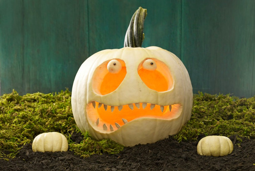 Bring a pumpkin back from the dead by carving a lopsided smile and adding eerie eyeballs (shaped with a melon baller). Place two mini pumpkins to look like hands clawing their way from the grave.