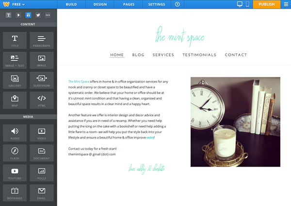 weebly how to change home page