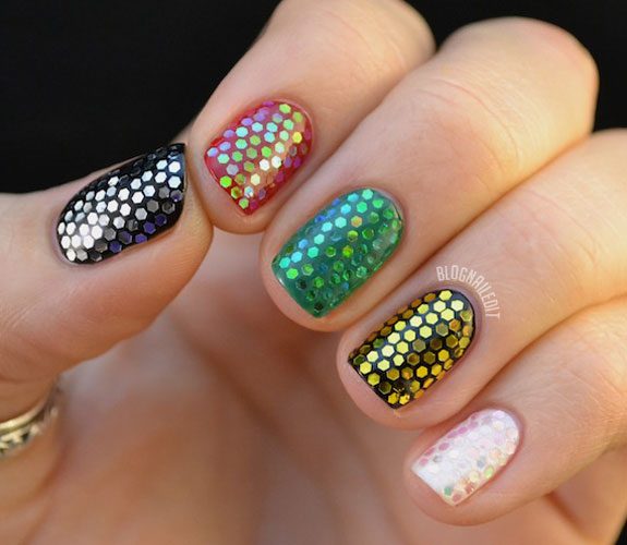 24 glitter nail art ideas tutorials for glitter nail designs prinsesfo Images