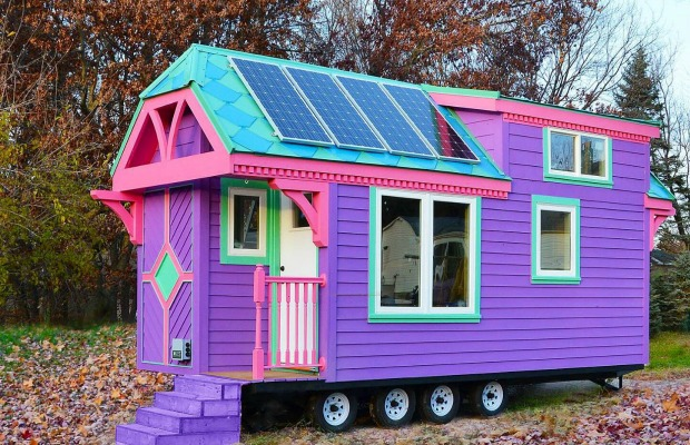 Colorful victorian tiny house small space living for Small house design inside and outside