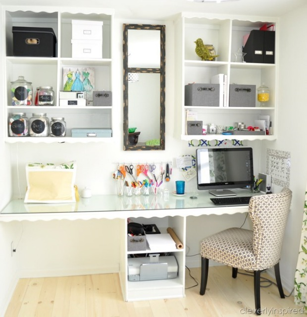 before and after a cluttered home office turns airy and organized
