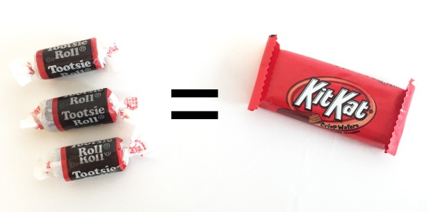 How many calories are in Tootsie Roll candies?