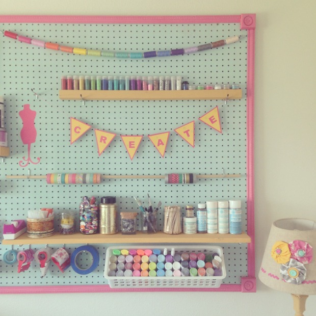 Diy pegboard project how to organize craft supplies for Diy pegboard craft organizer