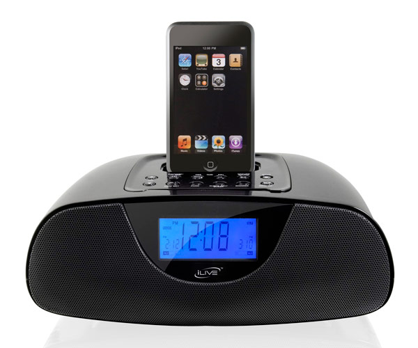projection clock radio with dock for ipod ic308b ilive 70