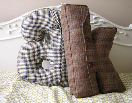 Suit Jacket Alphabet Pillow. Recycled Home Decor   Handmade Home Decor