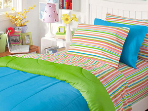 the residence hall linens extra long 3 piece sheet set in stripe dorm bedding