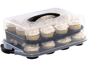 Oneida Bake And Take 3 Piece Cupcake Pan Tray And Cover