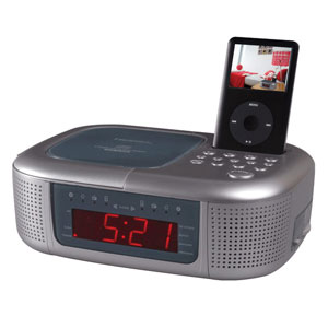 emerson cd stereo dual alarm clock radio with docking for. Black Bedroom Furniture Sets. Home Design Ideas